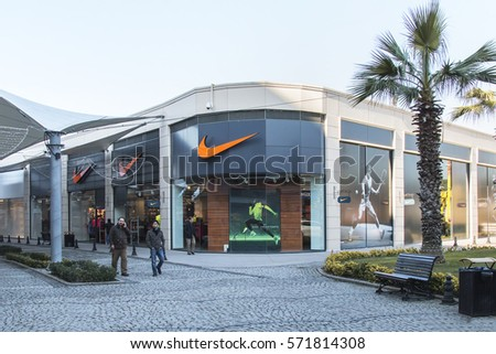 Istanbul, Turkey - 01 February 2017: Nike sports store, viaport shopping center Istanbul