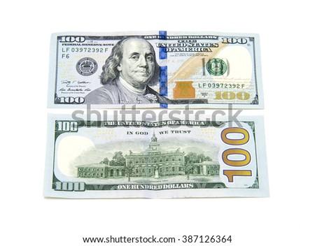 ISTANBUL, TURKEY - FEBRUARY 1, 2016: One hundred dollars banknotes isolated on white background - stock photo