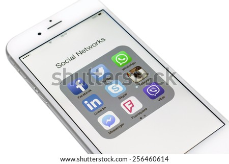 Istanbul, Turkey - February 26, 2015: Social networks, Facebook, Twitter, LinkedIn, Instagram, Skype and others on a smart phone - stock photo