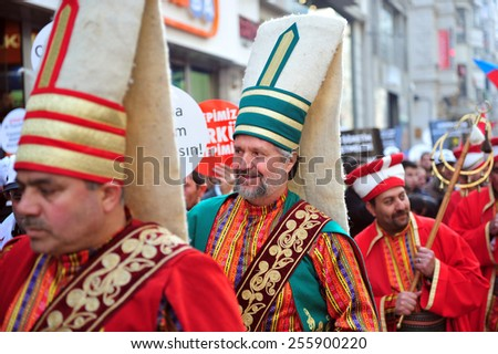ISTANBUL, TURKEY - FEBRUARY 21:  Turkish and Azeri citizen protest Khojaly (Hocali) genocide in Taksim Square. Ottoman army band performed a show on February 21, 2012 in Istanbul, Turkey. - stock photo