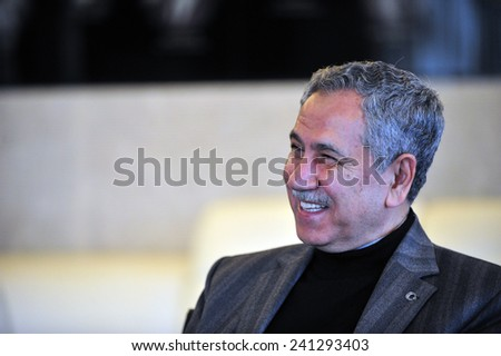 ISTANBUL, TURKEY - FEBRUARY  25: Turkish  politician,  Bulent Arinc  portrait on February  25, 2012 in Istanbul, Turkey.