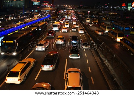 ISTANBUL, TURKEY - FEBRUARY 03: Yenibosna district in istanbul night.Traffic jam at E-5 Highway in Istanbul European Side on FEBRUARY 03, 2015 in Istanbul, Turkey  - stock photo