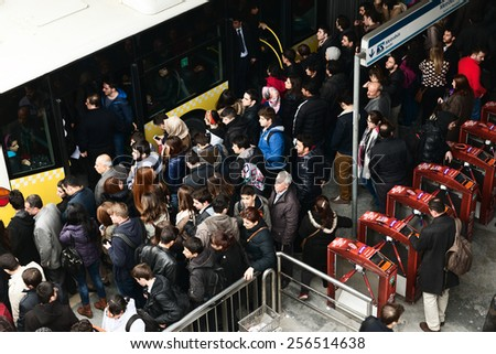 ISTANBUL, TURKEY - FEBRUARY 25, 2015: Zincirlikuyu District in instanbul.People waiting metrobus.Metrobus, a part of public transportation system, eases the traffic in Istanbul - stock photo