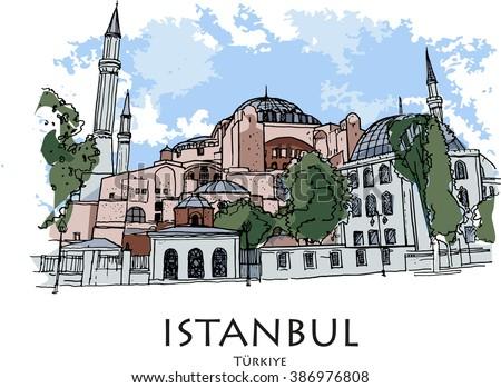ISTANBUL, TURKEY - Hagia Sophia, museum. Hand drawn sketch - stock photo