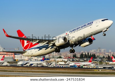 ISTANBUL , TURKEY - JANUARY 26, 2014: Aircraft of Turkish Airlines, is making taxi at Istanbul Ataturk International Airport on January 26, 2014. The aircraft is an Boing 737 - stock photo