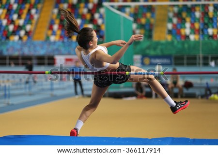 ISTANBUL, TURKEY - JANUARY 10, 2016: Athlete Sevgi Ime high jumpes during Turkish Athletic Federation Olympic Threshold Indoor Competitions