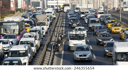 ISTANBUL, TURKEY - JANUARY 22:Bahcelievler district in istanbul.Traffic jam at E-5 Highway in Istanbul European Side on JANUARY 22, 2015 in Istanbul, Turkey