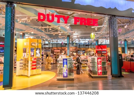 ISTANBUL, TURKEY - JANUARY 03: Duty Free Shop on January 03, 2012 in Istanbul, Turkey. Duty free shops are retail outlets that are exempt from the payment of certain local or national taxes and duties - stock photo