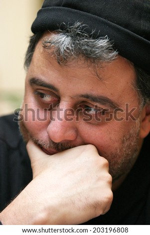 ISTANBUL, TURKEY - JANUARY 9: Famous Turkish actor, comedian and director Hamdi Alkan portrait on January 9, 2008 in Istanbul, Turkey.  - stock photo