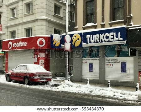 ISTANBUL,TURKEY-JANUARY 08,2017:Heavy snow days in Sirkeci District,istanbul