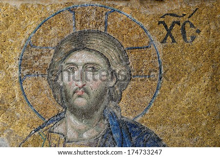 ISTANBUL, TURKEY - JANUARY 4: Jesus Christ, a Byzantine mosaic in the interior of Hagia Sophia, on January 4, 2014 in Istanbul.