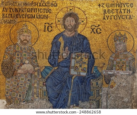 ISTANBUL, TURKEY - JANUARY 23: Jesus Christ flanked by Empress Zoe (right) and Emperor Constantine IX Monomachus (left) in Hagia Sophia (Ayasofya) on January 23, 2015 in Istanbul, Turkey.   - stock photo