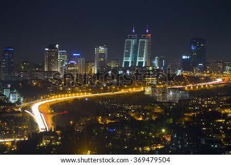 ISTANBUL, TURKEY - JANUARY 16, 2016 :Night view of Istanbul and Bosphorus bridge,
