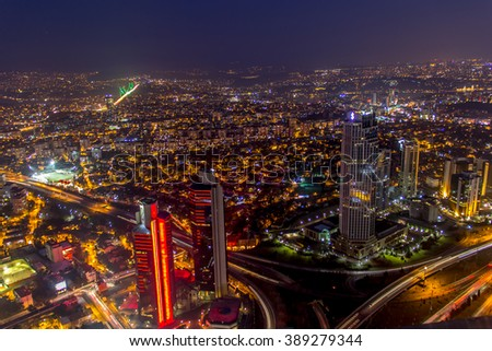 ISTANBUL, TURKEY - JANUARY 31, 2016: Sapphire Istanbul largest skyscraper in Istanbul able to see all the sights of Istanbul and the Bosphorus from the observation tower at night