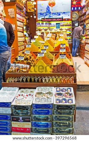 ISTANBUL, TURKEY - JANUARY 21, 2015: The spices' flavor spreads around the market stall and attracts the visitors to choose something, on January 21 in Istanbul.