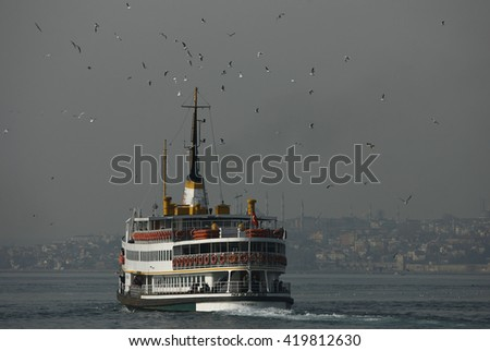 Istanbul,Turkey - January 13,2009 : Traditional Ferry in Istanbul, Turkey - stock photo