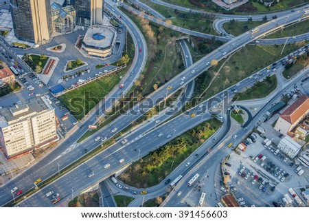 ISTANBUL, TURKEY - JANUARY 9, 2016: Traffic and highway road from air. Istanbul, Turkey