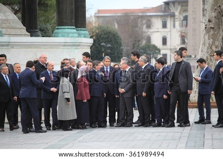 ISTANBUL,TURKEY-JANUARY 13 : Turkish Prime Minister Ahmet Davutolu and German Interior Minister Thomas de Maiziere visited the site of the explosion at Sultanahmet Square on Jan 2016 in Istanbul.