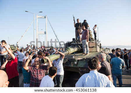 ISTANBUL, TURKEY - JULY 16:A military coup attempt plunged Turkey into a long night of violence and intrigue on July 16, 2016 in Istanbul, Turkey. - stock photo