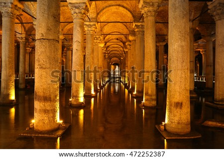 ISTANBUL, TURKEY - JULY 28, 2016: Columns and water inside Basilica Cistern. The Basilica Cistern is the largest of several hundred ancient cisterns that lie beneath the city of Istanbul.
