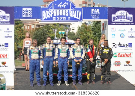ISTANBUL, TURKEY - JULY 26, 2015: Drivers in Podium Ceremony of Bosphorus Rally 2015