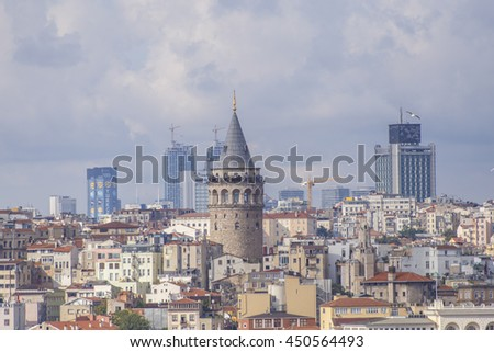 Istanbul, Turkey - July 07, 2016: Galata Tower view with domes and buildings