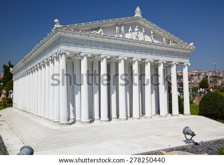 ISTANBUL, TURKEY - 10 JULY, 2014: Miniaturk park in Istanbul, Turkey. Scale model reconstruction of Temple of goddess Artemis. It was located in Ephesus. One of the Seven Wonders of the Ancient World. - stock photo