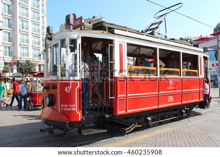 Istanbul, Turkey - July 28, 2013 : Old red tram in Istanbul, Turkey