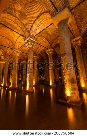 ISTANBUL, TURKEY - JULY 31: Rows upon rows of endless columns at the Basilica Cistern. Photo taken July 31, 2014 in Istanbul, Turkey.