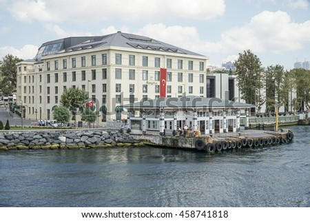 ISTANBUL, TURKEY - 24 JULY, 2016; Shangri-La Hotel and Pier in Besiktas district of Istanbul Turkey.