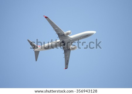 ISTANBUL, TURKEY - JULY 26, 2015: Turkish Airlines Boeing 737-8F2 (CN 35741/2685) takes off from Sabiha Gokcen Airport. THY is the flag carrier of Turkey with 290 fleet size and 276 destinations - stock photo