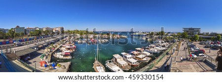 Istanbul, Turkey - July 22, 2016: View from Atakoy coastline located on the European side of Istanbul. Boats on the waters of the Sea of Marmara on July 22.