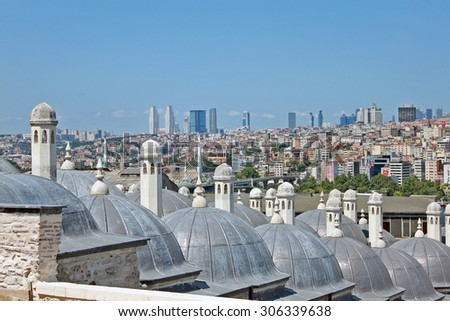 Istanbul, Turkey - 16 July 2015:  View of Istanbul from the the Suleymaniye Mosque