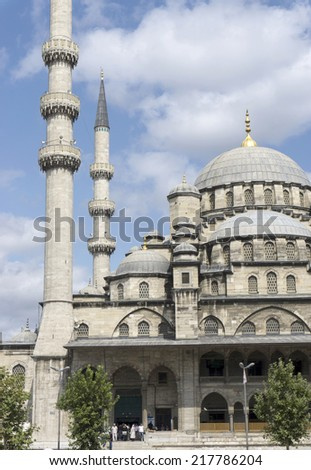 ISTANBUL, TURKEY - JULY 29: Yeni Cami, The New Mosque in Istanbul on July 29, 2014.The construction of the mosque first began in 1597 and finished in 1663. - stock photo