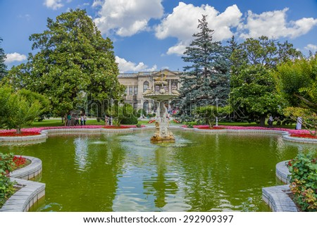 ISTANBUL, TURKEY - JUN 22, 2014: Beautiful fountain in the palace of Dolmabah?e