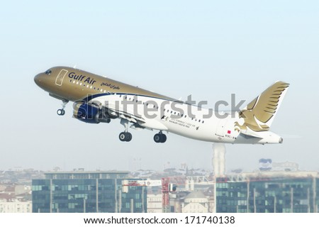 ISTANBUL , TURKEY - JUNE 15, 2014: Aircraft of Gulf Air, is taking off from Istanbul Ataturk International Airport on June 15, 2014. The aircraft is an Airbus A320-214