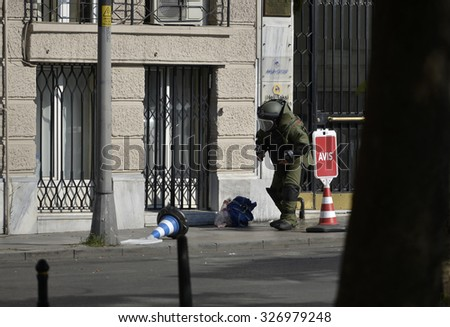 ISTANBUL,TURKEY, 27 JUNE 2015 Bomb disposal expert destroyed to suspicious package near Taksim Square. - stock photo