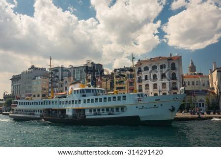 ISTANBUL, TURKEY - JUNE 20: Ferry boat on June 20, 2015 in Istanbul, Turkey - stock photo