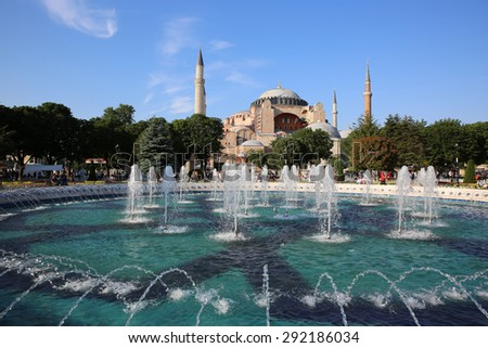 ISTANBUL, TURKEY - JUNE 04, 2015: Hagia Sophia Mosque in Istanbul - its a former Orthodox patriarchal Basilica, later a Mosque and now a Museum in Sultanahmet. - stock photo