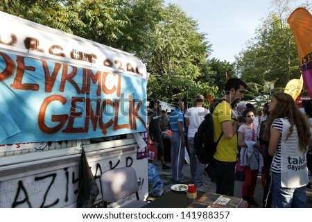 ISTANBUL,TURKEY-JUNE 8: Hundreds of people stay in Gezi Park  to avoid police intervention on June 08,2013 in Istanbul.
