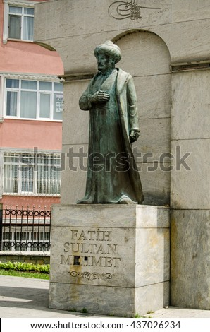 ISTANBUL, TURKEY - JUNE 5, 2016: Monument to Fatih Sultan Mehmet, also known as Mehmed the Conqueror,  in the Edirnekapi district of Istanbul.  Public monument, viewed from pavement.   - stock photo