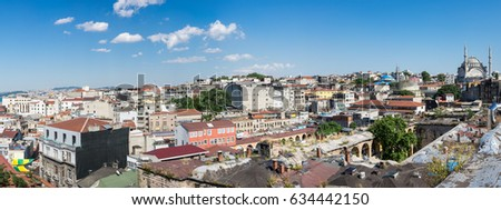 ISTANBUL, TURKEY - JUNE 20, 2015: Panoramic view of european part of Istanbul, Turkey