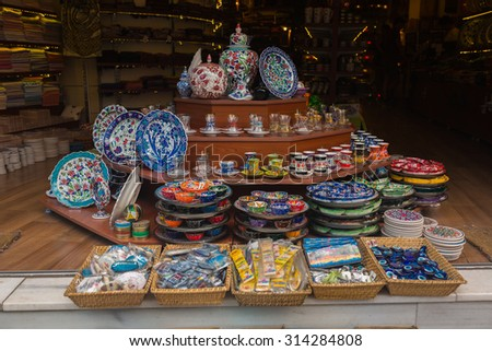 ISTANBUL, TURKEY - JUNE 20: Traditional Turkish ceramics on the Grand Bazaar on June 20, 2015 in Istanbul, Turkey - stock photo