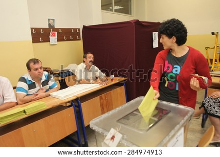 ISTANBUL,TURKEY-JUNE 7:Turks have begun voting in a general election which will determine whether the ruling party can change the constitution.on June 7, 2015 in Istanbul,Turkey.