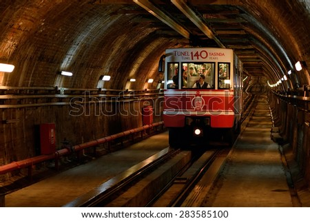 ISTANBUL, TURKEY - JUNE 1, 2015: View on the passenger car that crosses the ''Tunnel'', the underground railway line that connecting the quarters of Karakoy and Beyoglu in Istanbul, Turkey. - stock photo