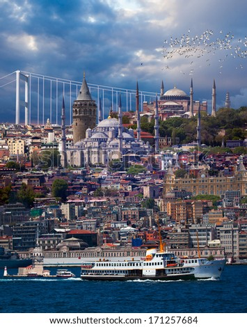 Istanbul Turkey , Maiden tower, Galata tower, Blue mosque ,hagia sophia ,haydarpasa  - stock photo