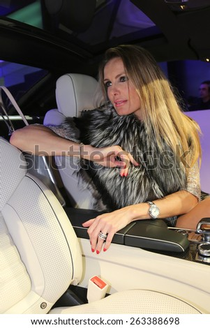 ISTANBUL, TURKEY - MARCH 18, 2015: A girl posing in Lounge of Mercedes-Benz Fashion Week Istanbul