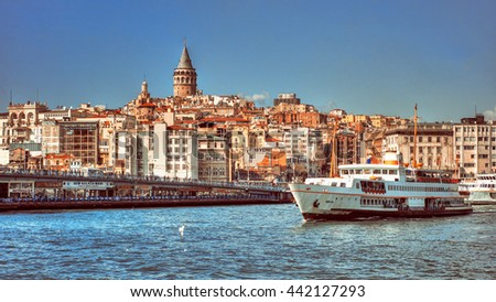 Istanbul, Turkey - March 16, 2012: Beyoglu district historic architecture and Galata tower medieval landmark in Istanbul, Turkey