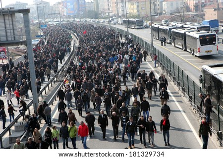 ISTANBUL,TURKEY-MARCH 12: Clashes in Istanbul took place after the funeral of young Gezi victim Berkin Elvan on March 12, 2014 in Istanbul,Turkey. - stock photo