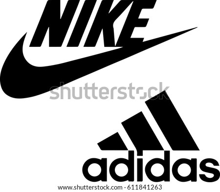 Istanbul, Turkey - March 30, 2017: Collection of popular manufactures sports shoes logos printed on paper: Nike and Adidas